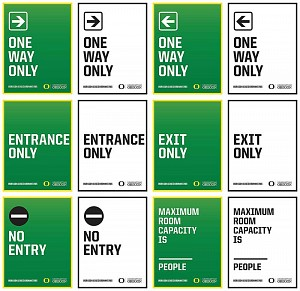 One way, entrance only, exit only, no entry, and maximum room capacity signs