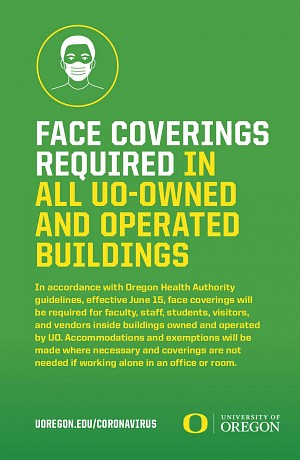 Face coverings required in all UO-owned and operated buildings.